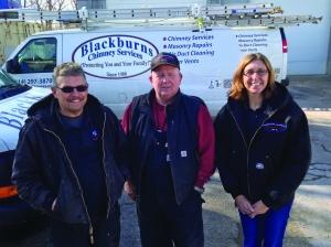 At Blackburns: CSIA Certified Chimney Sweep Jim McKee (l.), Bill Blackburn (Steve's older brother), and Debbie Wiedwald, president of Blackburns Chimney Sweeps.  http://www.blackburnschimney.com/