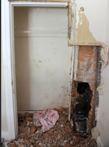 A photo of the chimney that rescuers had to access to free a stuck man.  Photo by @ydrcom