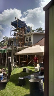 The scaffolding was up outside of a house getting some chimney TLC by New Buck Chimney Sweep in Shreveport, Louisiana. Work was done under lovely skies. Photo courtesy of CSIA Certified Chimney Sweep Kevin Russell.